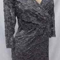 Mother of Bride Silver Marina  Beaded Sequin Tiered Lace Formal Dress 20w Photo