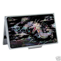 Mother of Pearl Metal Dragon Ball Design Business Credit Name Card Case Holder Photo