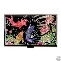 Mother of Pearl Metal Koi Fish Design Business Credit Id Card Money Holder Case  Photo