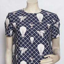 Mother of Pearl Opening Ceremony Blue Light Bulb Flying Pigs Blouse Top Sz M Photo