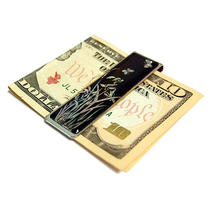Mother of Pearl Slim Steel Metal Black Money Cash Bill Credit Card Clip Holder Photo