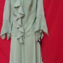 Mother of the Bride Plus Size Sage Skirt and Glitter Empire Jacket 16w Photo