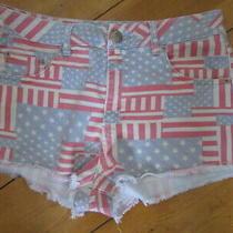Moto Topshop American Flag Frayed Hem Short Shorts Uk Size 12 Summer Hot Pants Photo