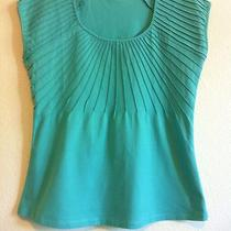 Motto Summer Top Sz Medium Aqua Green Sunburst Pleats Perfect Photo