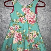 Mountain Beach Boutique Baby Girls Turquoise Floral Skater Type Dress Size 9-12m Photo