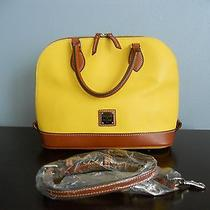 Msrp 198 Dooney Bourke Yellow/tan Awl Leather Zip Zip Satchel Bag Purse Strap Photo