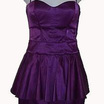 Mt Bebe Corset Peplum Mini Corset Dress Body-Con Satin Strapless Purple Xs S Photo
