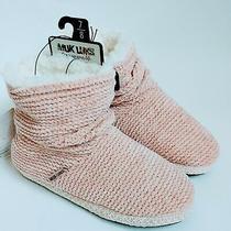 Muk Luks Cozy Chenille Slipper Boot Bootie Light Pink Blush Size Medium 7-8  Photo