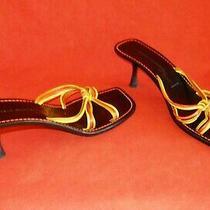 Mules Sigerson Morrison Sandals Slides Strappy Flared Heel Black Orange 9.5 B Photo