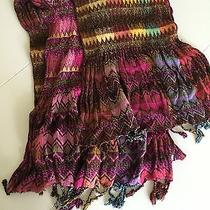 Multi Color Pink Red Tribal Print Anthropologie Scarf Photo