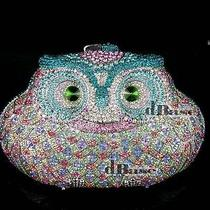 Multi-Color-T Crystal Owl Bridal Evening Metal Purse Clutch Bag in Free Shipment Photo