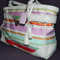Multi Colored Coach Purse Hampton Water Colored Hand Bag Photo