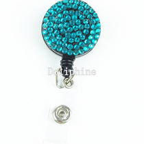 Multi-Colored Rhinestone Crystal Retractable Id Badge Reel Holder Photo