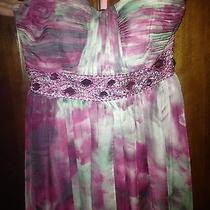 Multicolor Purple Pink Floral Blush Prom  9435 Evening Prom Gown Size 6 Photo