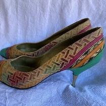 Multicolour 90s 80s Vintage Stiletto Pumps Leather Size Au 8 Green Pink Orange Photo