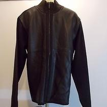 Murano Collezoine 100% Lamb Skin Front Panel Brown Wool Blend Sweater Sz L 46