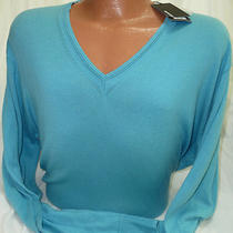 Murano v-Neck Sweater Liquid Luxury in Light Aqua Msrp 80 Nwt - Xl Photo