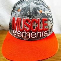 Muscle Elements Hip Hop Baseball Hat Cap Gray Orange Raised Embroidery Osfm Snap Photo