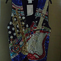 Musical Instruments Sequin Beaded Fashion Fantasy Vest Size S Multi-Color Photo