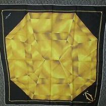 Must De Cartier Silk Scarf Diamond Solitaire Black & Yellow Gorgeous 35 Inches Photo