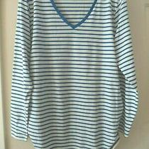 Must Old Navy White & Marine Blue Stripe Vneck T-Shirt Knit L 14 16 Xl Maternity Photo