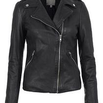 Muubaa Biker Jacket Black Carmona Fitted Soft Leather Zipped Classic Size 8 Photo