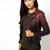Muubaa Black Red Salazar Soft Leather Dip Dye Ombre Biker Jacket Size 10 Photo
