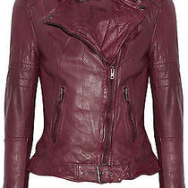 Muubaa Deep Red Nido Wadding Quilted Padded Fitted Wired Biker Jacket Size 6 Photo