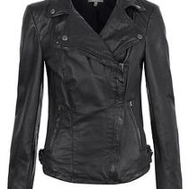 Muubaa Fitted Fitted Zip Pocket Pola Black Leather Moto Biker Jacket Size Us 2 Photo