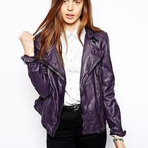 Muubaa Fitted Fitted Zip Wired Pola Plum Purple Leather Moto Biker Jacket Size 8 Photo