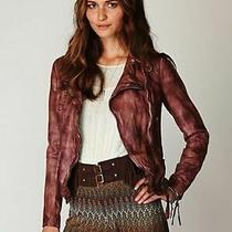 Muubaa Flax Washed Leather Biker Jacket in Burnet Uk 10 Eu 38 Us 6 M Brown Photo