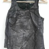 Muubaa Ladies Black Leather Croc Sleeveless Scoop Neck Vest Size Eu38 Uk10 Photo