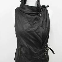 Muubaa Ladies Black Leather Pocket Buckle Wrap Vest Gilet Jacket Approx. M Bnwt Photo