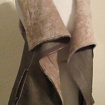 Muubaa Sheepskin Leather Asymmetric Zippers Vest Jacket Us 6 Photo