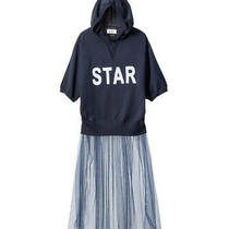 Muveil 18ss Knit Hoodie With Tulle Star Long Parker Navy 38 Photo
