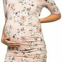 My Bump Women's Cold Shoulder Fitted Maternity Dress Blush Mtae Size Large 4vr Photo