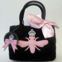 My Flat in London Quilted Wool Handbag W/ Pink Bee New  Photo
