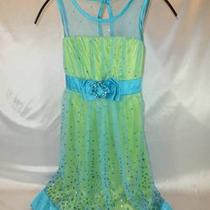 My Michelle Girls Sz 12 Lime Green Bodice Aqua Glitter Tulle Long Formal Dress Photo
