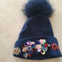 My Sisters Closet Pom Pom Navy Embellished Jeweled Hat Rrp 69.99 Photo