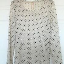 Mystree Anthropologie Womens L Stretch Lace Ivory Black Polka Dot L/s T Shirt  Photo