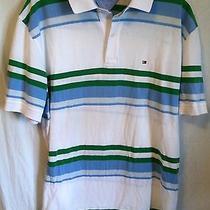 N Tommy Hilfiger  Xl Mens Blue White Striped Short Sleeve Polo Shirt Xl Photo