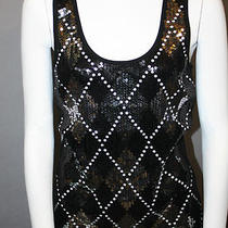 N027 Great Ladies Express Black Sleeveless Top With Intricate Sequent Detail Photo