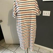 N1 Gap Womens White Blue Red Striped Tee Shirt Dress Size L Rolled Up Sleeve Photo
