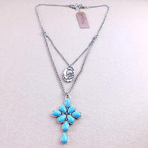 N196 Lucky Brand Vintage Style Blue Cross Pendant Necklace New With Tag Photo