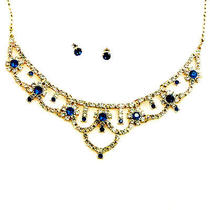 N254 Avon Blue & Clear Rhinestone Necklace & Earrings Set New With Original Box Photo