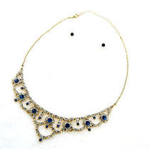N254 Avon Blue Clear Rhinestone Necklace & Earrings Set New With Original Box Photo
