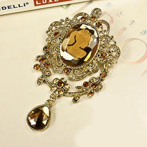 N258 Avon Champagne Color Rhinestone Brooch-Can Also Be a Necklace Brand New Photo