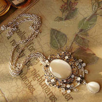N303 Avon Vintage Style White Stone Large Pendant Necklace New Photo