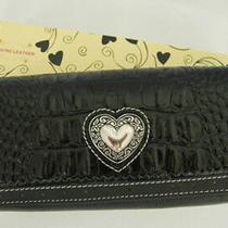 (N36) Black Leather Croc Pebble Wallet Purse Clutch Bag Photo