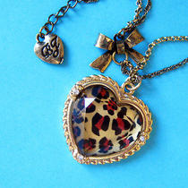 N381 Betsey Johnson Vintage Style Leopard Print Heart Pendant Necklace New  Photo